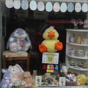 Easter window in our Newburgh shop - Linda really enjoyed doing it!