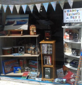 Father's Day window display in our Newburgh shop
